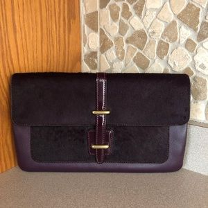 Coach clutch -calf hair&leather -deep purple